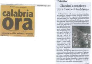 Articolo Anziani di San Mazzeo Calabria ora del 17.07.2012
